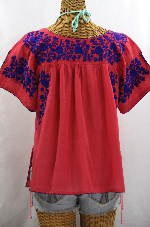 """La Lijera"" Embroidered Peasant Blouse Mexican Style -Tomato Red + Blue Embroidery"