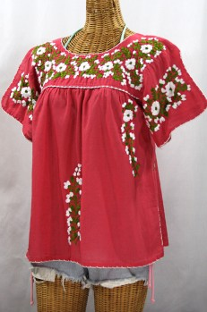 """""""La Lijera"""" Embroidered Peasant Blouse Mexican Style -Tomato Red + Green + White Embroidery"""