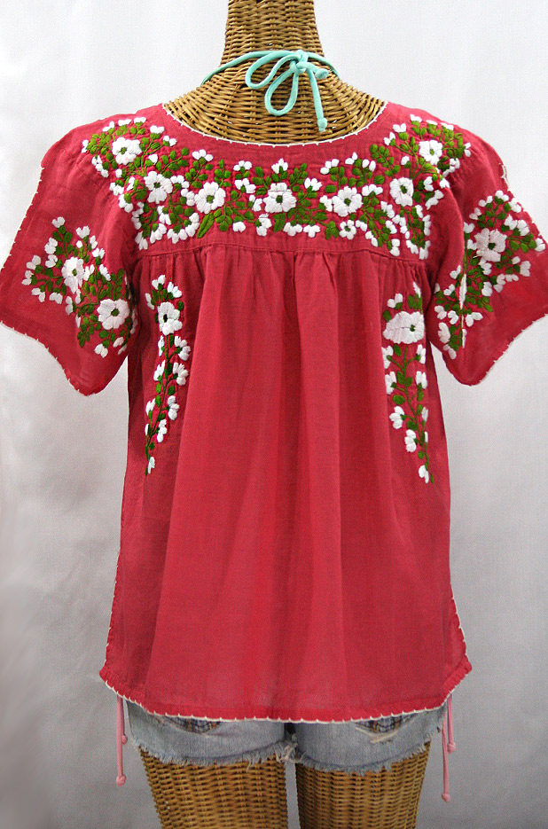 """La Lijera"" Embroidered Peasant Blouse Mexican Style -Tomato Red + Green + White Embroidery"