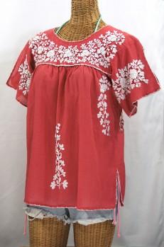 """""""La Lijera"""" Embroidered Peasant Blouse Mexican Style -Tomato Red + White"""