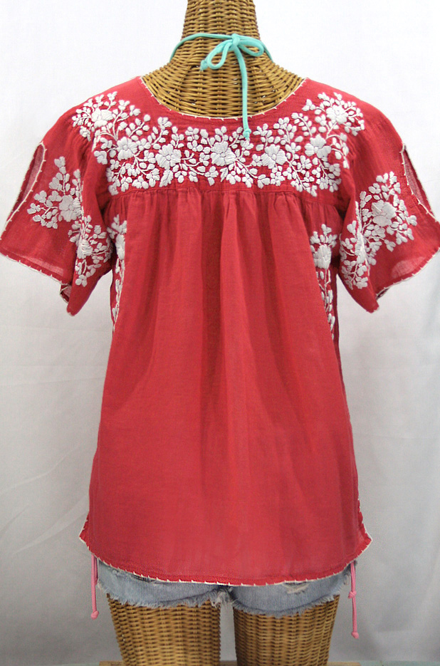 """La Lijera"" Embroidered Peasant Blouse Mexican Style -Tomato Red + White"