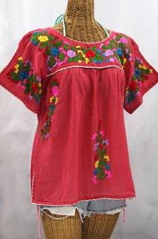 """La Lijera"" Embroidered Peasant Blouse Mexican Style - Tomato Red + Rainbow"