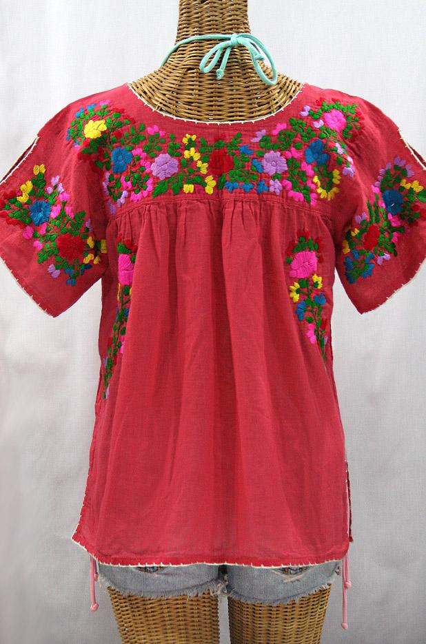 """La Lijera"" Embroidered Peasant Blouse Mexican Style - Tomato Red + Rainbow"