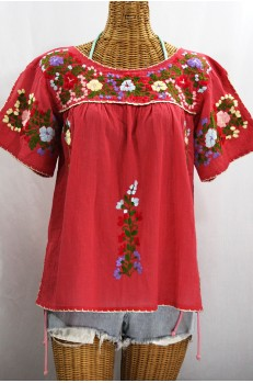 """La Lijera"" Embroidered Peasant Blouse Mexican Style -Tomato Red + Multi Embroidery"