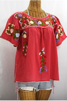 """La Lijera"" Embroidered Peasant Blouse Mexican Style -Tomato Red + Multi Embroidery"