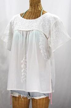 """La Lijera"" Embroidered Peasant Blouse Mexican Style -All White"