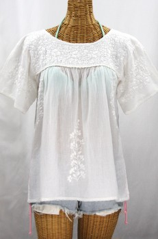 """La Lijera"" Embroidered Peasant Blouse Mexican Style -All White"