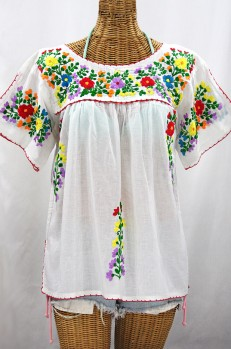 """La Lijera"" Embroidered Peasant Blouse Mexican Style -White + Rainbow"