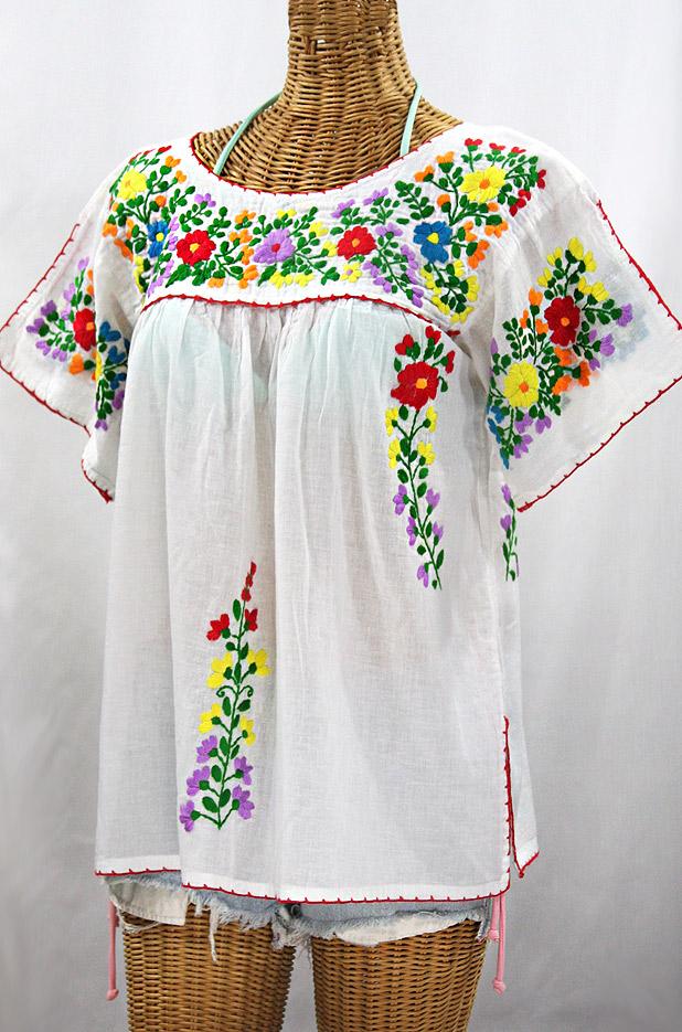 La Lijera Embroidered Peasant Blouse Mexican Style White Rainbow