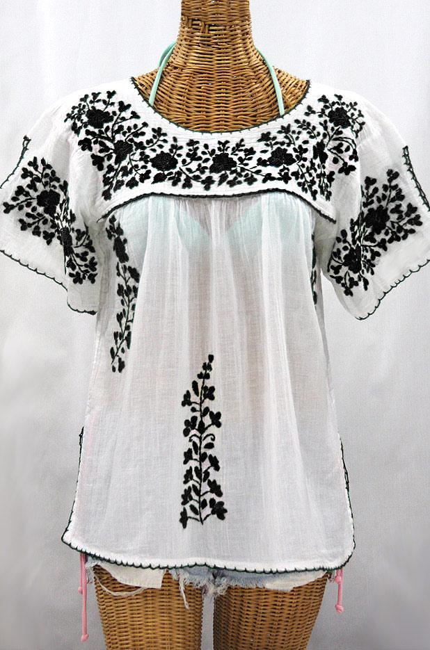 """""""La Lijera"""" Embroidered Peasant Blouse Mexican Style -White + Black"""