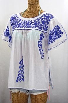 """La Lijera"" Embroidered Peasant Blouse Mexican Style -White + Blue"