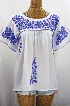 """La Lijera"" Embroidered Peasant Blouse Mexican Style -White + Blue"