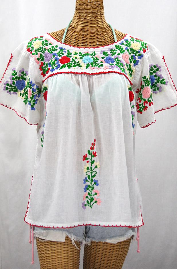 """""""La Lijera"""" Embroidered Peasant Blouse Mexican Style -White + Bright Multi-color"""