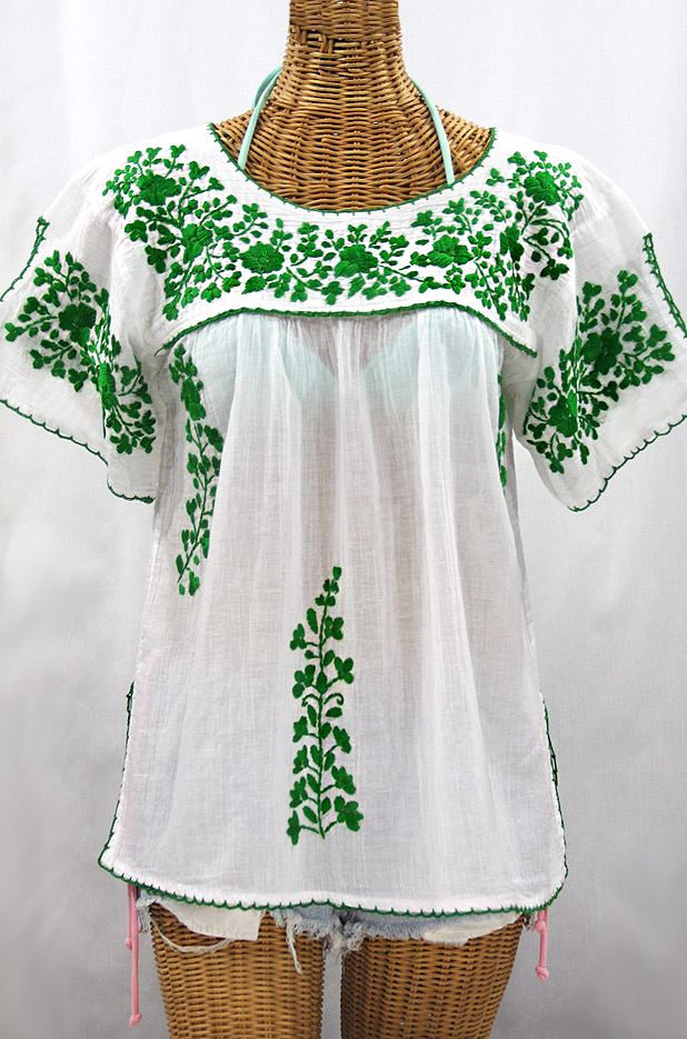"""La Lijera"" Embroidered Peasant Blouse Mexican Style -White + Green"