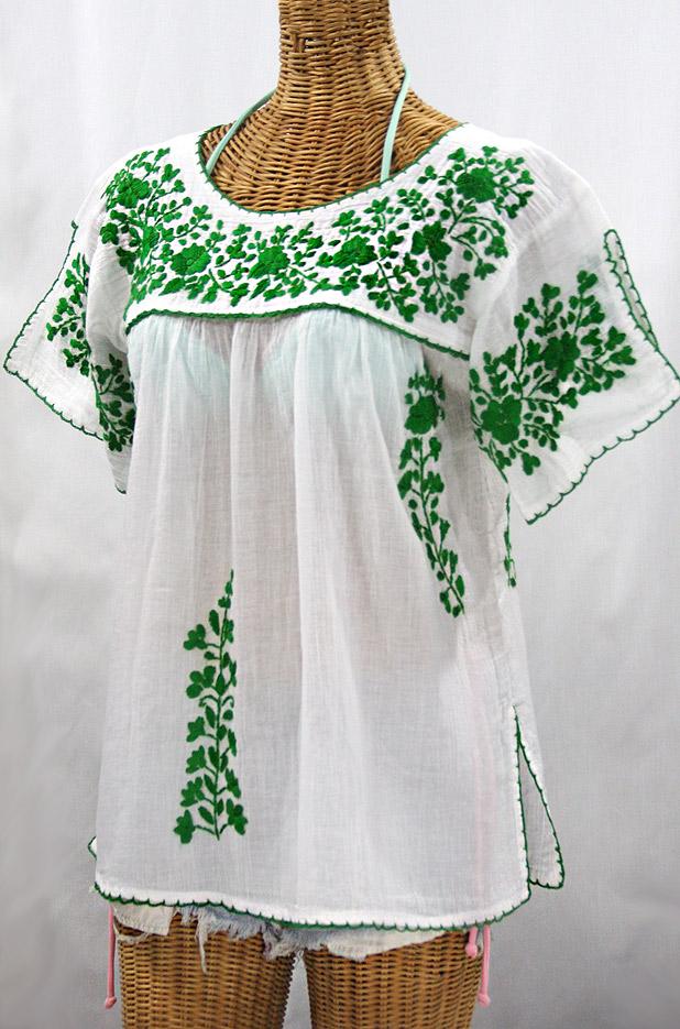 """La Lijera"" Embroidered Peasant Blouse Mexican Style -White + Green"