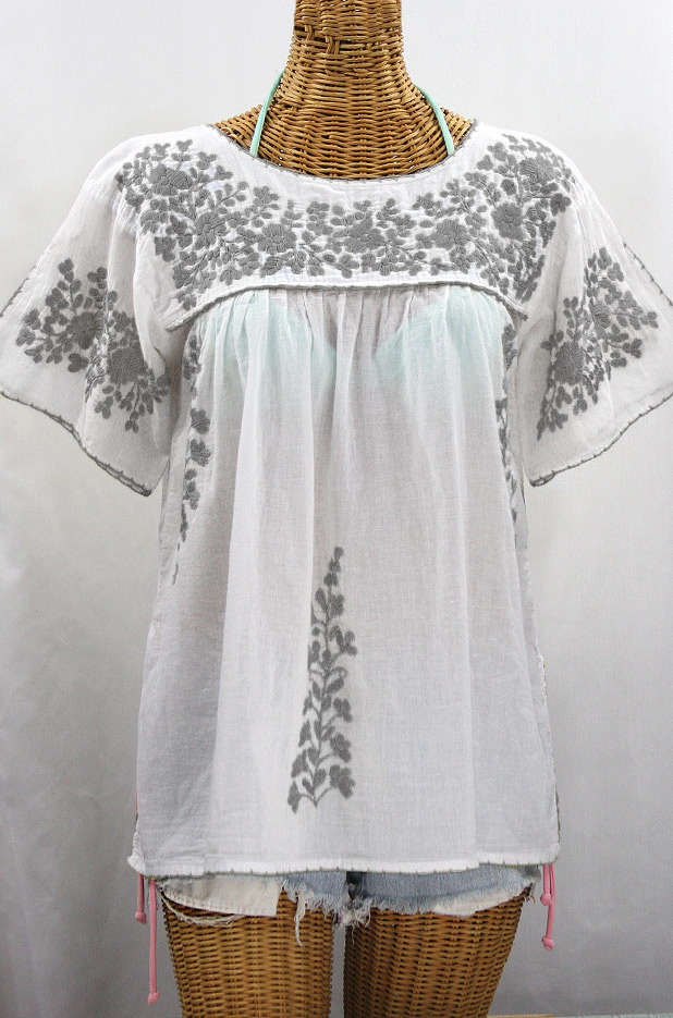 """La Lijera"" Embroidered Peasant Blouse Mexican Style -White + Grey"
