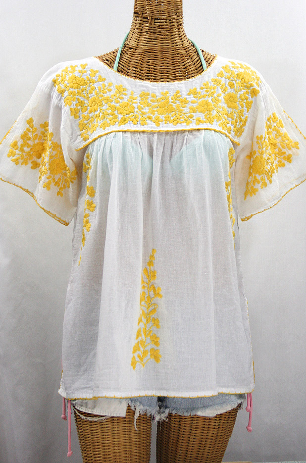 """La Lijera"" Embroidered Peasant Blouse Mexican Style -White + Marigold"