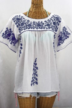 """La Lijera"" Embroidered Peasant Blouse Mexican Style -White + Navy"