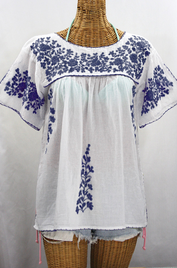 """""""La Lijera"""" Embroidered Peasant Blouse Mexican Style -White + Navy"""