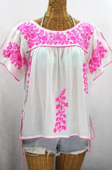 """""""La Lijera"""" Embroidered Peasant Blouse Mexican Style -White + Neon Pink"""