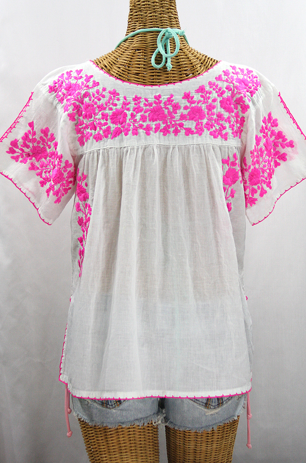 """La Lijera"" Embroidered Peasant Blouse Mexican Style -White + Neon Pink"