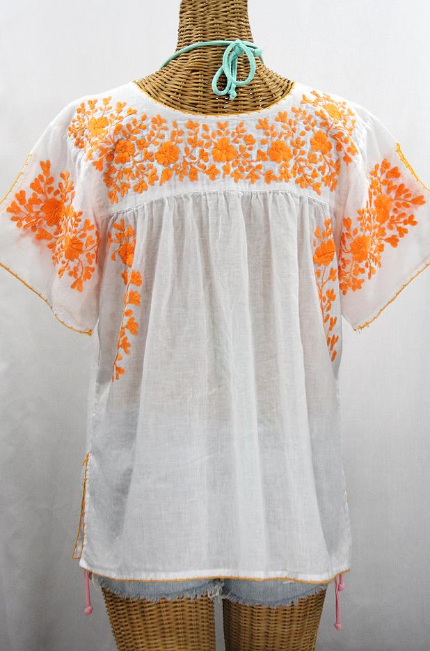 """""""La Lijera"""" Embroidered Peasant Blouse Mexican Style -White + Neon Orange"""