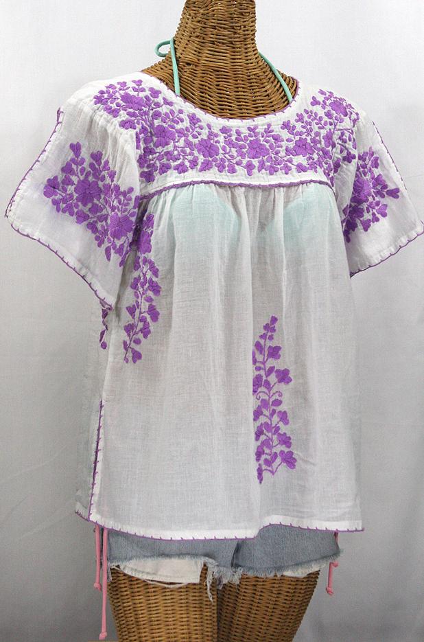 """""""La Lijera"""" Embroidered Peasant Blouse Mexican Style -White + Bright Purple"""