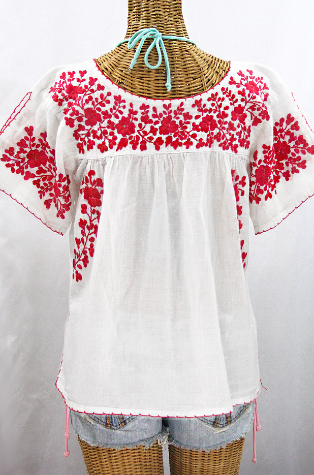 """""""La Lijera"""" Embroidered Peasant Blouse Mexican Style - White + Red"""