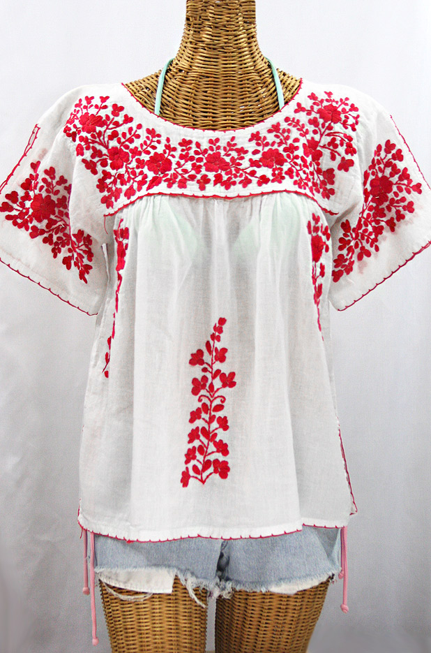 """La Lijera"" Embroidered Peasant Blouse Mexican Style - White + Red"