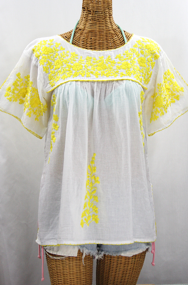 """La Lijera"" Embroidered Peasant Blouse Mexican Style -White + Neon Yellow"