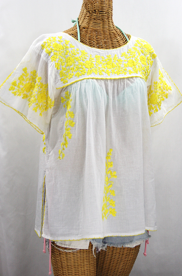 """La Lijera"" Embroidered Peasant Blouse Mexican Style -White + Neon Yellow"