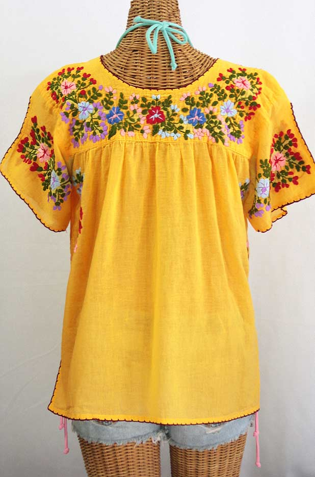 """La Lijera"" Embroidered Peasant Blouse Mexican Style -Golden Yellow"