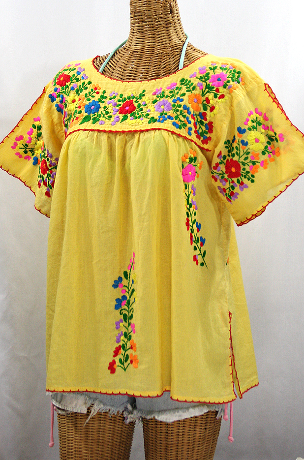 """La Lijera"" Embroidered Peasant Blouse Mexican Style - Yellow + Rainbow"