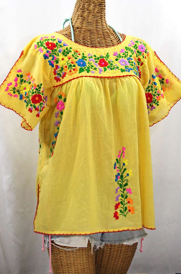 """""""La Lijera"""" Embroidered Peasant Blouse Mexican Style - Yellow + Rainbow"""