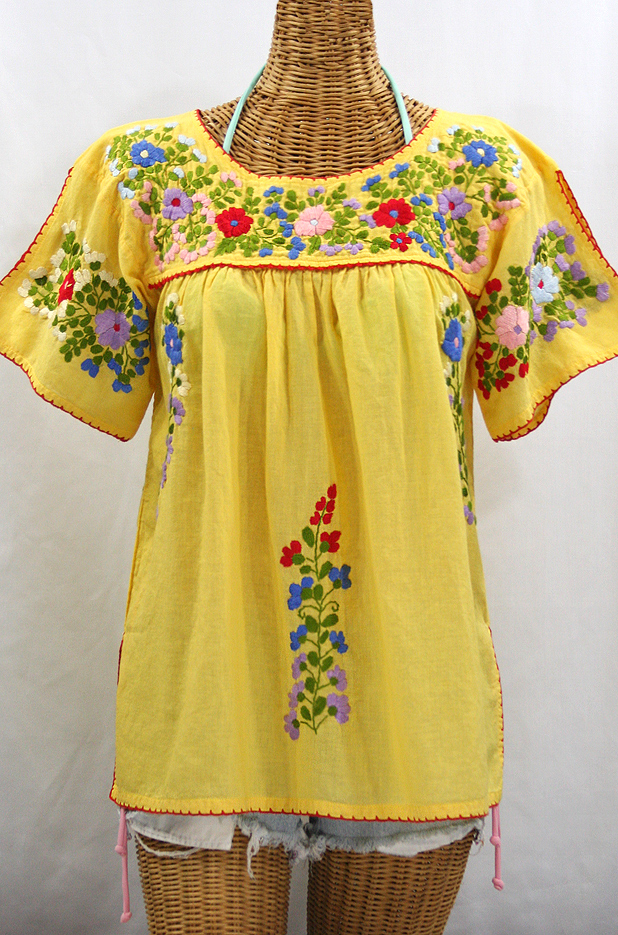 """La Lijera"" Embroidered Peasant Blouse Mexican Style - Yellow + Red Trim"