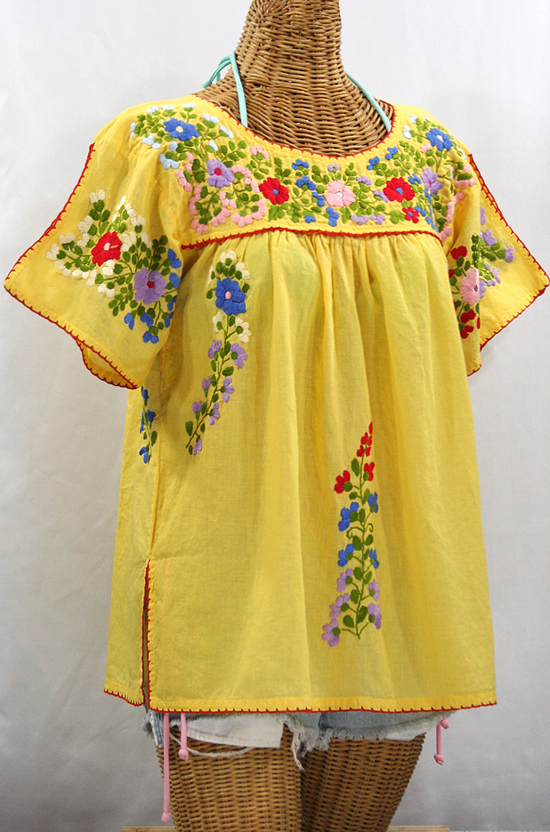 """""""La Lijera"""" Embroidered Peasant Blouse Mexican Style - Yellow + Red Trim"""