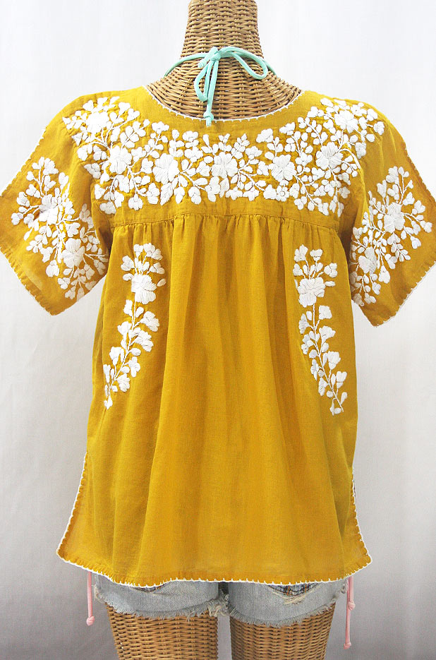 """""""La Lijera"""" Embroidered Peasant Blouse Mexican Style - Honey Gold + White"""