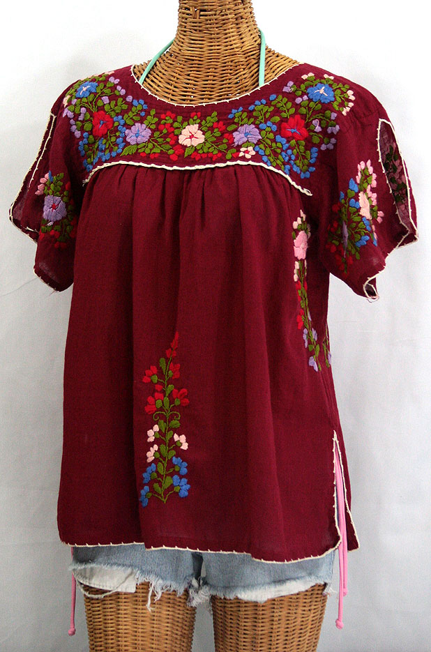 """La Lijera"" Embroidered Mexican Style Peasant Blouse - Burgundy"