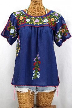 """La Lijera"" Embroidered Peasant Blouse Mexican Style -Denim"