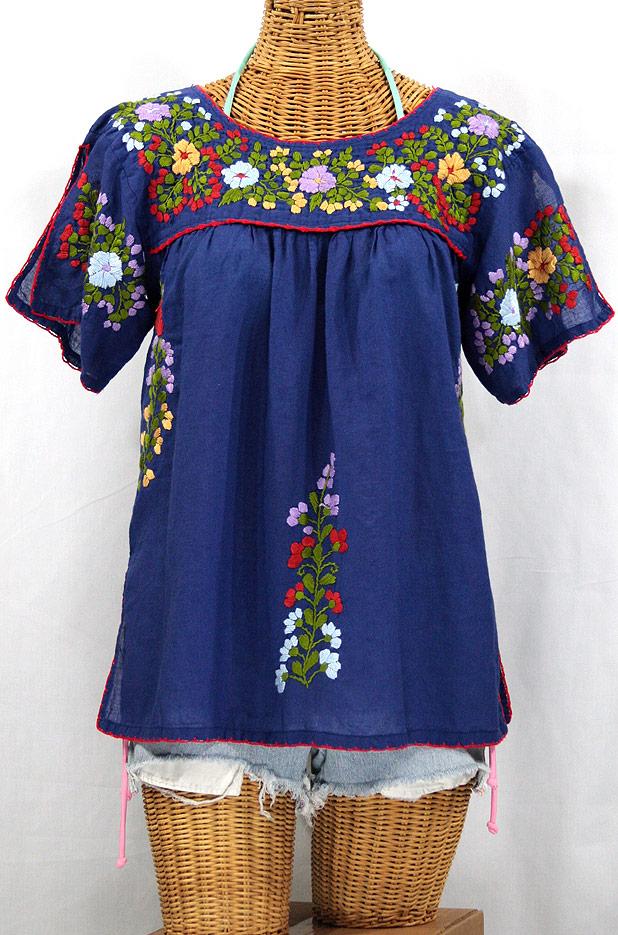 """""""La Lijera"""" Embroidered Peasant Blouse Mexican Style -Denim"""