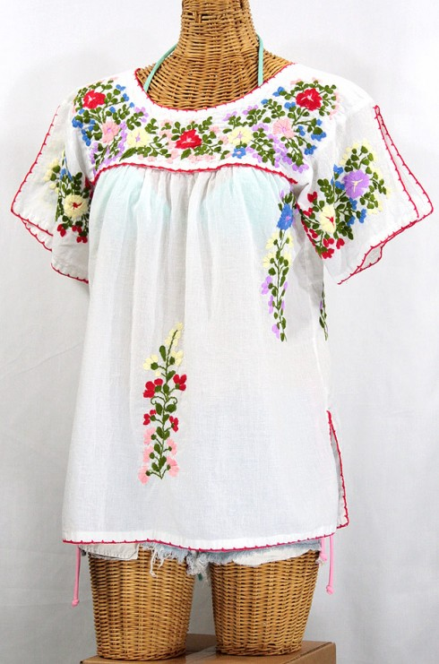 """La Lijera"" Embroidered Peasant Blouse Mexican Style -White"