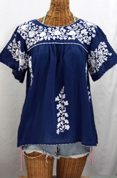 """La Lijera"" Embroidered Peasant Blouse Mexican Style -Denim + White"