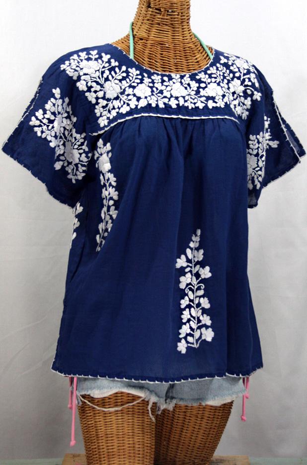 """""""La Lijera"""" Embroidered Peasant Blouse Mexican Style -Denim + White"""