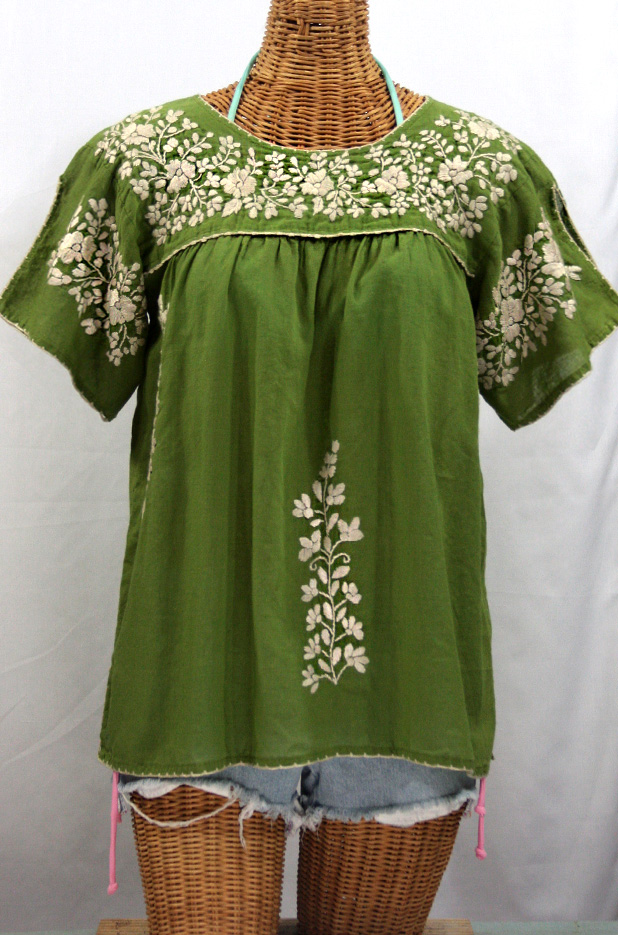 """La Lijera"" Embroidered Peasant Blouse Mexican Style -Fern Green"