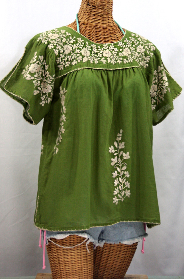 """""""La Lijera"""" Embroidered Peasant Blouse Mexican Style -Fern Green"""