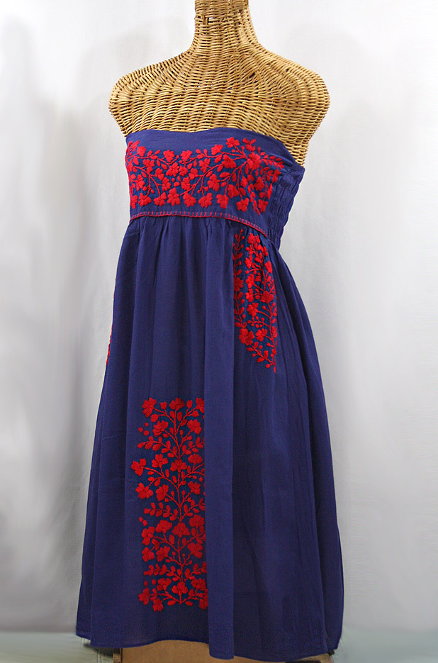 """La Mallorca"" Embroidered Strapless Sundress - Denim + Red"