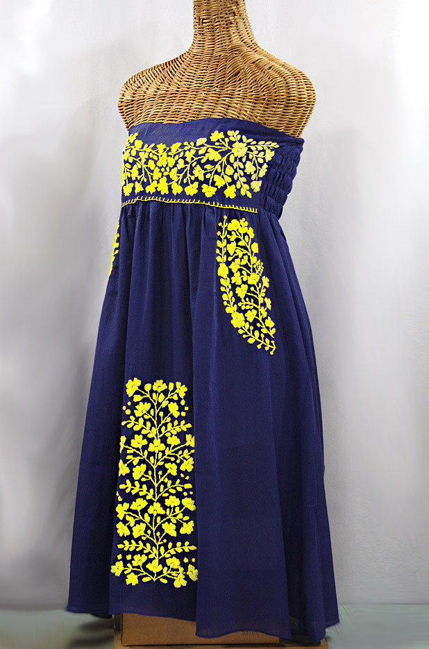 "60% Off Final Sale ""La Mallorca"" Embroidered Strapless Sundress - Denim + Yellow"