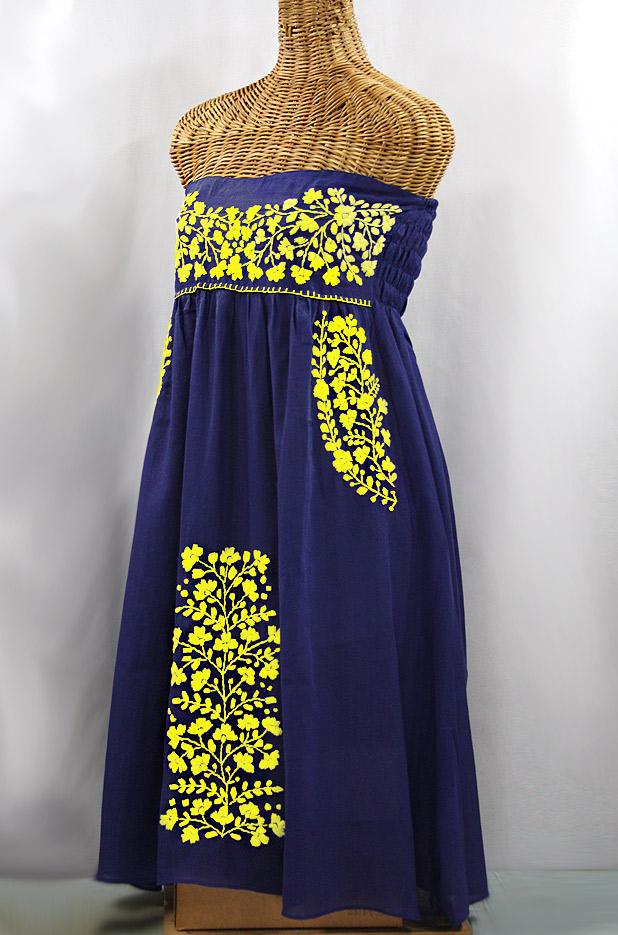 "Final Sale 60% Off -- ""La Mallorca"" Embroidered Strapless Sundress - Denim + Yellow"