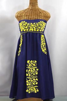 "60% Off Final Sale ""La Mallorca"" Embroidered Strapless Sundress - Denim + Yellow"