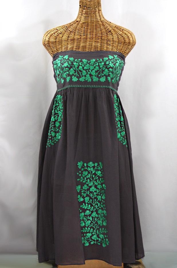"""La Mallorca"" Embroidered Strapless Sundress - Dark Grey + Mint"